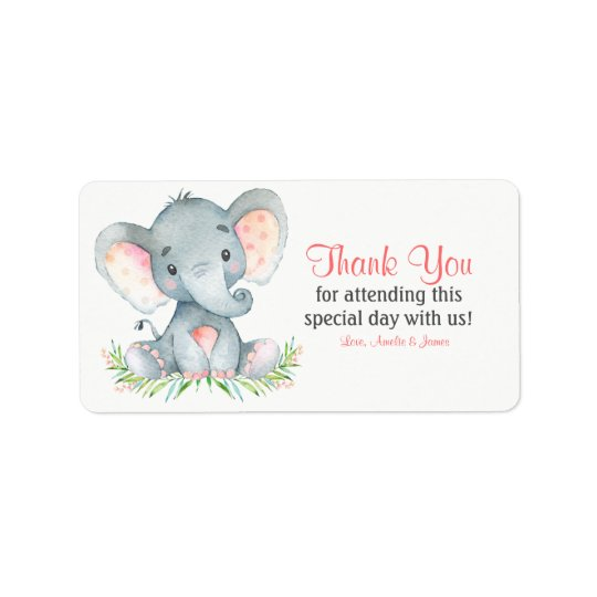 Watercolor Elephant Girl Thank You Label
