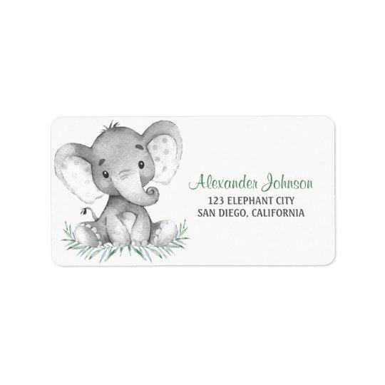 Watercolor Elephant Label
