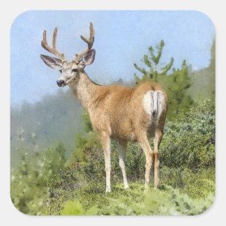 Watercolor Elk Square Sticker