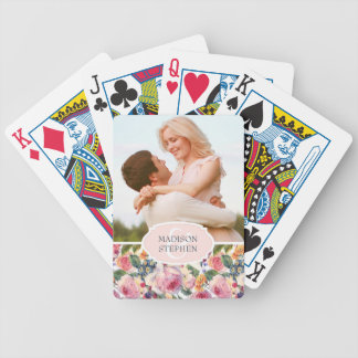 Watercolor | English Roses - Wedding Photo Bicycle Playing Cards