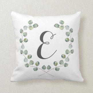 Watercolor Eucalyptus Leaf Frame | Monogram Throw Pillow