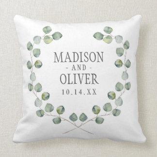 Watercolor Eucalyptus Leaf Frame | Wedding Throw Pillow