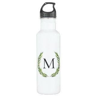 Watercolor Eucalyptus Wreath Monogram Water Bottle