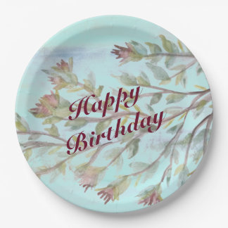 Watercolor Event Paper Plate In Burgundy 9 Inch Paper Plate