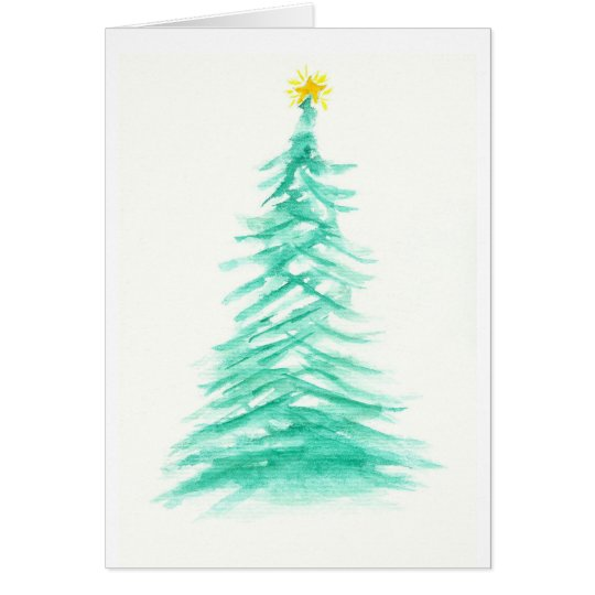 Watercolor Evergreen Tree Art Christmas Tree Card
