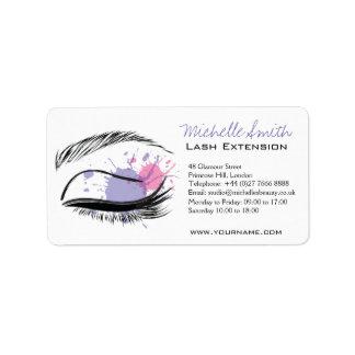 Watercolor eye eyelashes Lash extension icon Address Label