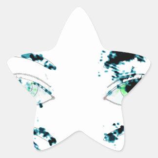 Watercolor eyes 2 star sticker