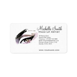 Watercolor eyes lash extension makeup branding address label