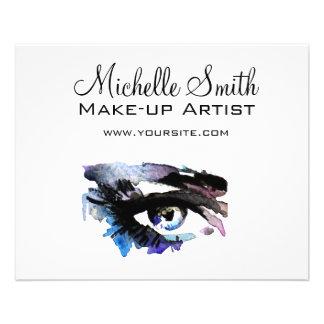 Watercolor eyes lash extension makeup branding flyer