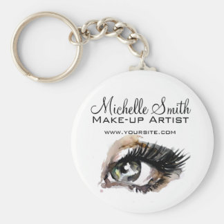 Watercolor eyes lash extension makeup branding key ring