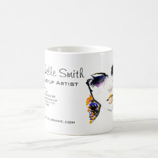 Watercolor face long lashes makeup artist branding coffee mug