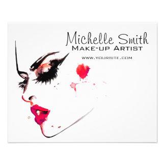 Watercolor face makeup artist branding 11.5 cm x 14 cm flyer