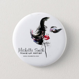 Watercolor face makeup artist branding 6 cm round badge
