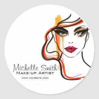 Watercolor face makeup artist branding classic round sticker