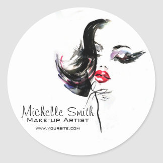 Watercolor face makeup artist branding round sticker