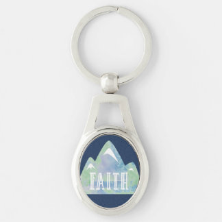 Watercolor Faith Mountain on Navy Background Silver-Colored Oval Key Ring