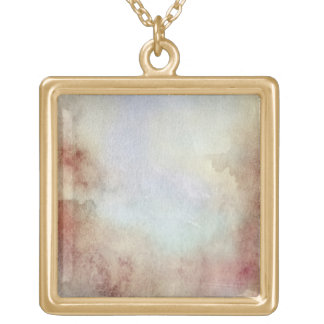 Watercolor Fall Background Gold Plated Necklace