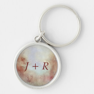 Watercolor Fall Background Silver-Colored Round Key Ring