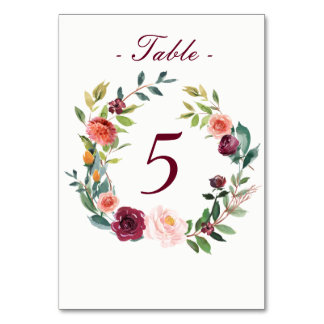 Watercolor Fall Floral Table Number Card Table Card
