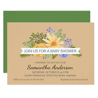 Watercolor Fall Flowers Gender Neutral Baby Shower Card