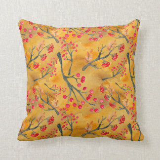 Watercolor Fall Leaves Branches & Berries Cushion