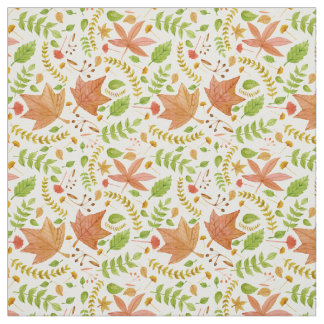 Watercolor Fall Leaves Collage Pattern Fabric