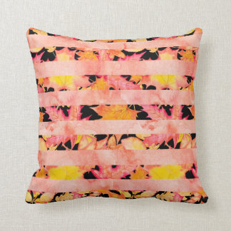 Watercolor Fall Leaves Pink | Black Stripes Cushion