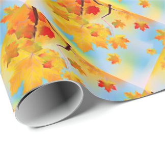 Watercolor Fall Leaves Wrapping Paper