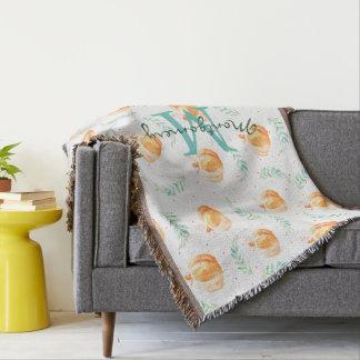 Watercolor Fall Pumpkins & Laurels Family Name Throw Blanket