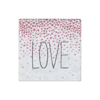 Watercolor Falling Hearts Love Stone Magnet