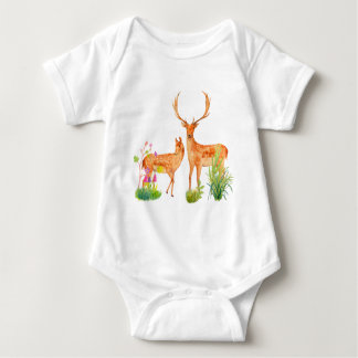 Watercolor Fallow Deer Family Baby Bodysuit
