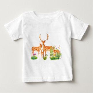 Watercolor Fallow Deer Family Baby T-Shirt