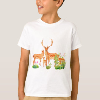 Watercolor Fallow Deer Family T-Shirt