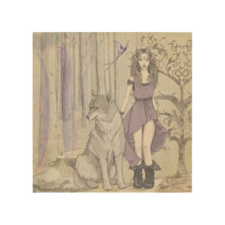 Watercolor Fantansy Faerie Wolf Wood Wall Art