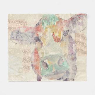 Watercolor Farm Collage Cow Fleece Blanket