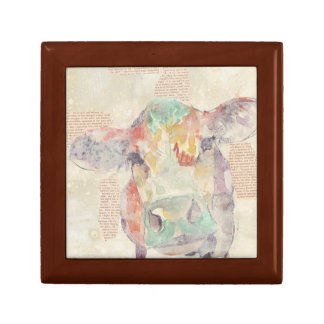 Watercolor Farm Collage Cow Gift Box
