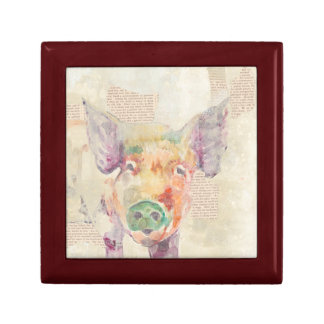 Watercolor Farm Collage Pig Gift Box