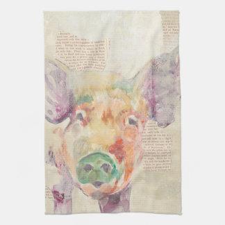 Watercolor Farm Collage Pig Kitchen Towels