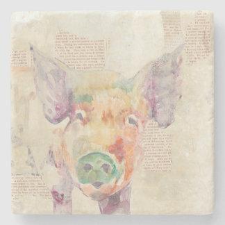 Watercolor Farm Collage Pig Stone Coaster