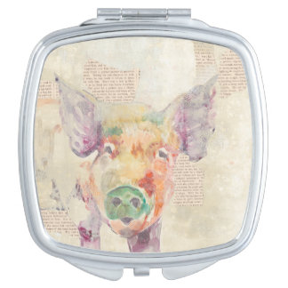 Watercolor Farm Collage Pig Travel Mirror