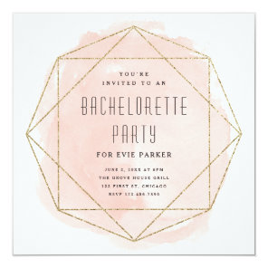 Watercolor faux glitter bachelorette party invite