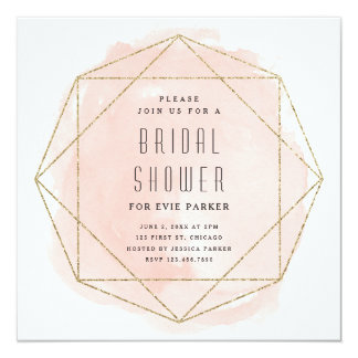 Watercolor faux glitter bridal shower invitation