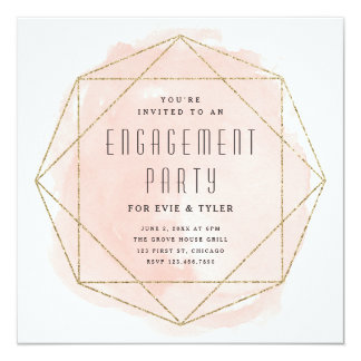 Watercolor faux glitter engagement party invite