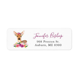 Watercolor Fawn Floral Return Address Label I