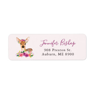 Watercolor Fawn Floral Return Address Label II