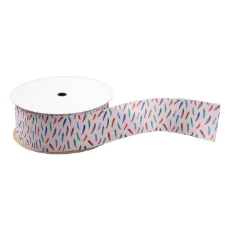 Watercolor Feathers 1.5'' Grosgrain Ribbon