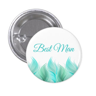 Watercolor Feathers Best Man 3 Cm Round Badge