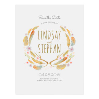 Watercolor Feathers Boho Antlers Save the Date Postcard