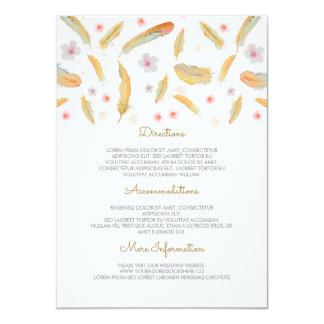Watercolor Feathers Boho Wedding Information Card