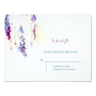 Watercolor Feathers Boho Wedding RSVP 11 Cm X 14 Cm Invitation Card